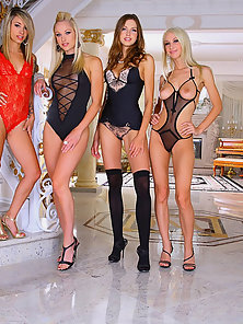 4 smoking hot amazing lingerie lesbians share their hot pussies in these hot 4some fucking high clas
