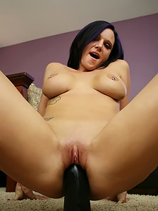Brunette Babe Ariel Avalon Pushes a Thick Dildo in Her Wet Pussy