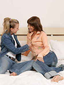 Jeans Wear Sexy Brunette Babe Sharon, Kellie Naked and Sex on Bed