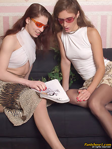 Two Brown Hair Babe Tais and Elena Licking and Squeezing Boobs in Pantyhose