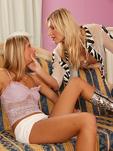 Two Sexy Blonde Teen Cute Lesbian Girls Kissing and Licking Each Other