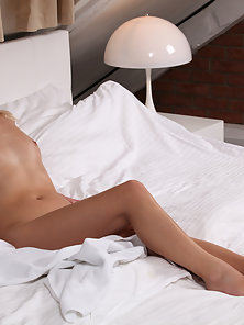 Beautiful Blonde Violette Fingering and Spreading on White Bed