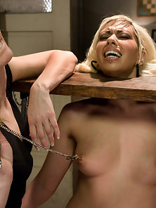 Naughty Lesbians Fucking In Doggystyle by a Huge Strapon Dildo in BDSM Activity