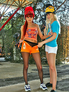 Attractive Naughty Pantyhose Chicks Leonora and Hilda Showing Their Round Ass In Outdoor