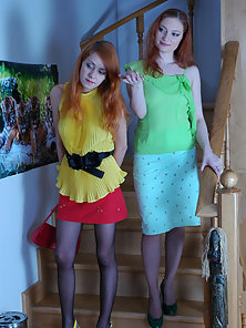 Redhead Sexy Teens Rita and Salome Strips Their Dresses and Fingering Twat