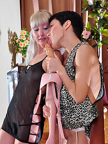 Brunette Babe Madeleine Takes Doggy Style Strap On Fucking By Hot Viola