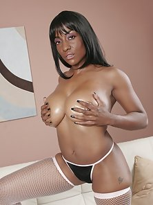 Sexy Ebony Babes Showing Their Big Tits and Shaved Tacos
