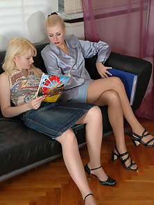 Dazzling Blonde Lesbians Gloria and Jasmin Licking Fucking On the Black Couch