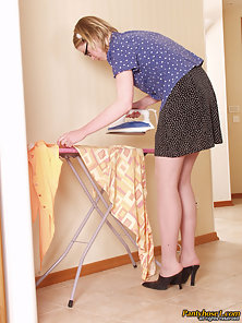 Sensual Lesbians Abel and Floy Kissing Passionately and Fucking While Ironing