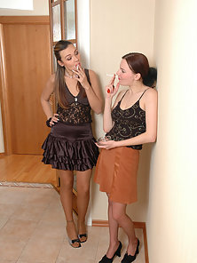Sussana and Marion and Ada awesome lesbians in pantyhose