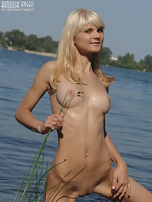 Sexy Sweet Blonde Lesbian Love Swimming in River