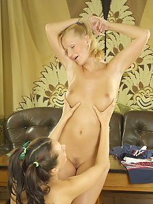 Pigtail Blonde and Brunette Cheerleaders Make Romance With Together