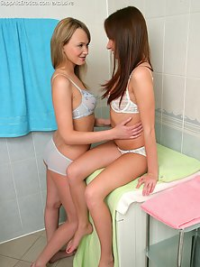 White Bikini Teen Girls Ania and Agathe Are Making Fingering Each Other Twat