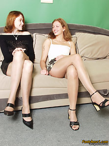 Stunning Brown Hair Babes Trudy and Victoria Kissing and Licking on Couch