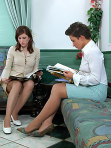 Laura and Sheila and Jaclyn cute lesbians in pantyhose