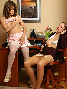 Wow Office Partner Madge and Maria Fucking To Each Other in Their Office