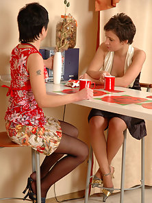 Sheila and Renee pantyhose crazy girls