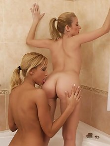 Two Sexy Lesbian Babe in Bathtub Shaved Pussy Playing Action