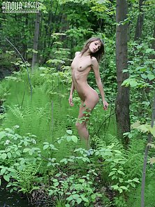 Slim Teen College Lesbian Absolutely Naked Pose in Forest