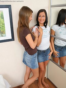 Alla and Lelsie Are Pressing Boobs and Fingering Each Other In Dressing Room