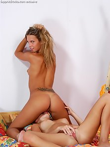 Horny Skinny Babes Valerie and Romana Making Nipple Sucking and Licking on the Bed