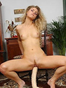 What Dildo Fucking By Outstanding Babe Elenor with Sitting Pose