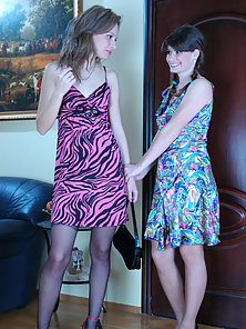 Sweet Skinny Irene and Gertie Hammered Hard In Doggy Style with Huge Dildo