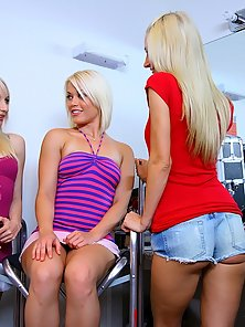 3 beautiful hot mini skirt teen lesbians fuck eachother backstage on their modeling photo shoot in t