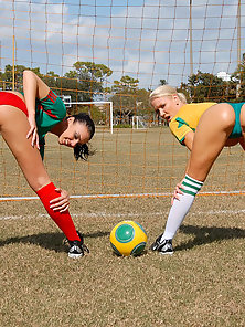 Free porn gallery picture Amazing hot fucking lesbian soccer players get fucked hard after a game in these hot strap on fuckin