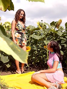 Childish Babes Toying Both Holes Outdoor Action