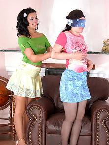 Laura and Ira exposing their pantyhose