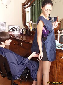 Sultry Hair Dresser Jess and Aurora Kissing and Lesbian Licking on the Table