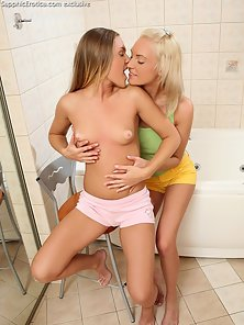 Amazing Hot Girls Mona and Brea Are Enjoying Hot Fingering Action in Bathroom