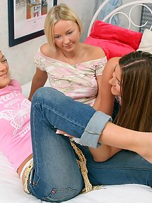 Three Nude Friends Adelisa Lorin and Sydnee Showing Their Lesbian Act In Here