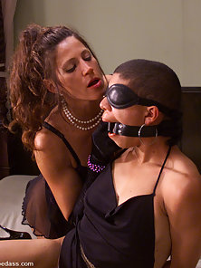 Kym and Shawna Lesser Fucking With Dildo and Vibrator on Bed in BDSM