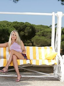 Amazing Hot Blonde Babe Celine Enjoy Nailed Action on Couch