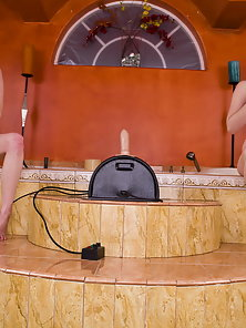 Horny Chicks Ready for Sybian Riding in Bathroom
