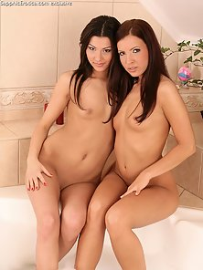 Brunette Jane and Klaudia in Bathtub Shower Kiss and Twat Licking Action