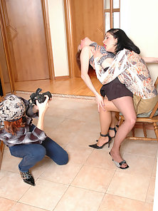 Maria and Fanny and Ninon pretty lesbians in pantyhose