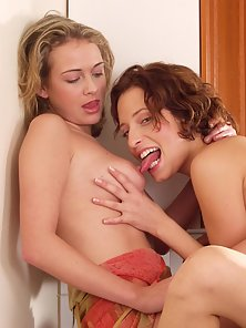 Horny lesbians having a go in the kitchen