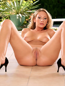 Busty Blonde Roxy Carter Dildoing Her Tight Vagina in Naughty Poses