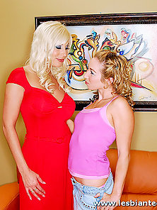 Two Blonde Lesbian Girls with Big Dildo Making Fingering and Rubbing Action
