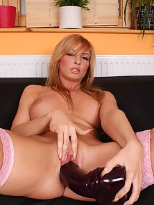 Pink Stocking Blonde Girl Freay Making Rubbing Her Tits in Horny Mood