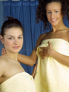 Dark-haired babes getting naughty after a nice bath