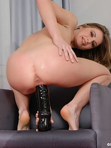 Enjoyed In Black Brutal Dildo Drilling Action a Cute Blonde Chick Hottie