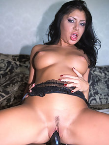 Dazzling Brunette Chick Sucking a Black Strap On and Fucking Hard By Glass Dildo