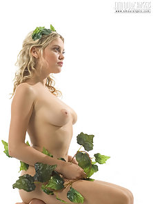 Naked Blonde Busty Lesbian Curves Pose with Flower