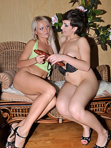 Slutty Sexy Lottie and Dolly Massive Nailing With a Big Dildo