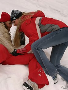Cute Sexy Winter Dressed Girls Playing Super Sex Game on Ice Field