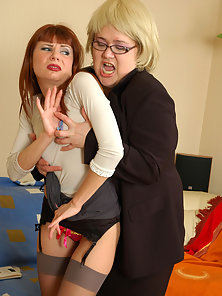 Ophelia and Alice Showing Their Sexy Lesbian Action in an Office Room